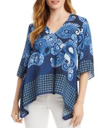 Karen Kane Blue Printed Handkerchief Hem Top