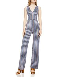 BCBGeneration - Blue Cutout-detail Basketweave-stripe Jumpsuit - Lyst