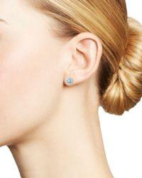 Bloomingdale's - Aquamarine And Diamond Halo Stud Earrings In 14k White Gold - Lyst