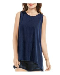 Vince Camuto - Blue Pinstripe High/low Tank Top - Lyst