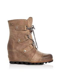 Sorel | Brown Joan Of Arctic Lace Up Wedge Booties | Lyst