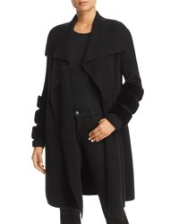 C By Bloomingdale's Black Rabbit Fur Trim Cashmere Coatigan