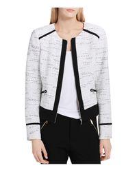 Calvin Klein   White Tweed Zip Jacket   Lyst