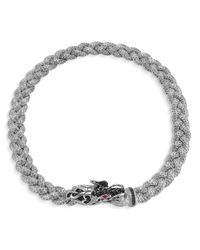 """John Hardy Multicolor Sterling Silver Naga Medium Braided Chain Dragon Head Necklace With Black Sapphires And Ruby Eyes, 18"""" for men"""