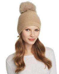 Kyi Kyi Brown Slouchy Hat With Fox Fur Pom - Pom