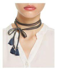 Chan Luu - Blue Chiffon Beaded Tassel Necktie - Lyst
