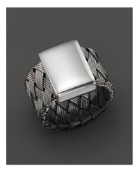 Roberto Coin | Metallic Ruthenium Plated Sterling Silver Woven Ring | Lyst