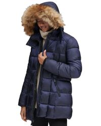 Marc New York Blue Riverdale Faux Fur Trim Hooded Puffer Coat