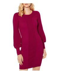 Karen Millen - Pink Bishop-sleeve Knit Dress - Lyst