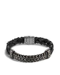 John Hardy - Men's Classic Chain Extra Large Oxidized Sterling Silver Station And Braided Black Leather Bracelet for Men - Lyst