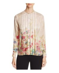 Elie Tahari White Izarra Pleat-front Blouse