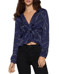 BCBGeneration Blue Printed Twist-front Top