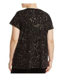 Lucky Brand Black Distressed Paint Splatter Graphic Tee