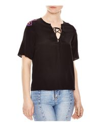 Sandro | Black Vibration Embellished Silk Top | Lyst