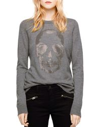 b3c9baa0f1c697 Zadig & Voltaire Miss Bis Embellished Cashmere Sweater in Gray - Lyst