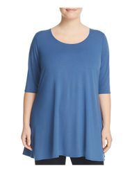 Eileen Fisher - Blue Jersey Scoop-neck Tunic - Lyst