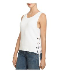 1.STATE White Lace-up Side Cotton Tank