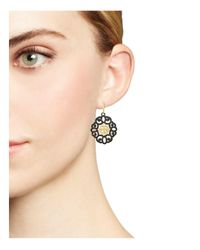 Armenta - Metallic 18k Yellow Gold And Blackened Sterling Silver Old World Diamond And Black Sapphire Filagree Earrings - Lyst