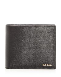 Paul Smith - Black Embossed Leather Bi-fold Wallet for Men - Lyst