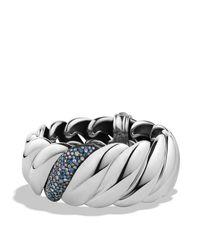 David Yurman Metallic Hampton Cable Bracelet With Grey Diamonds & Sapphires
