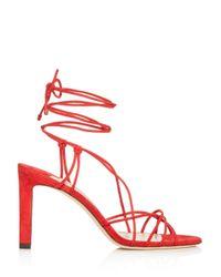 Jimmy Choo Red Women's Tao 85 Ankle - Tie High - Heel Sandals