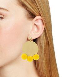 Aqua Yellow Large Disc Pom-pom Drop Earrings