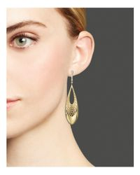 Roberto Coin - Metallic 18k Yellow And White Gold Diamond Teardrop Golden Gate Earrings - Lyst