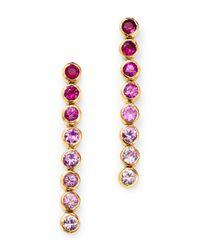 Shebee - 14k Yellow Gold Ombré Pink Sapphire Linear Drop Earrings - Lyst