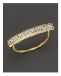Meira T - Metallic 14k Yellow Gold Long Bar Ring With Diamonds - Lyst