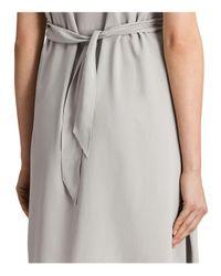 AllSaints Gray Jayda Silk Dress