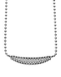 Lagos Metallic Sterling Silver Caviar Spark Diamond Half Moon Necklace