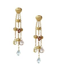"""Marco Bicego   Metallic """"paradise Collection"""" 18 Kt. Yellow Gold Triple Strand Earrings   Lyst"""