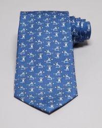 Vineyard Vines Blue Bull And Bear Tie for men