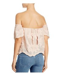 Lovers + Friends Pink Life's A Beach Off-the-shoulder Top