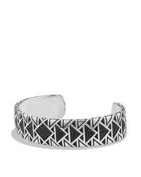 David Yurman - Metallic Frontier Wide Cuff Bracelet With Black Diamonds - Lyst