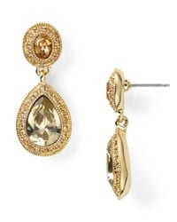 Carolee Metallic Pave Stone Double Drop Earrings