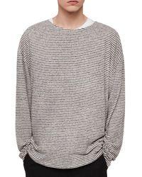 AllSaints Multicolor Sine Long Sleeve Cotton Linen Crew T-shirt for men