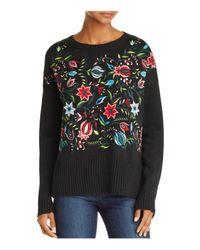 Aqua Black Embroidered Sweater
