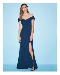 Aidan Mattox Blue Off-the-shoulder Gown