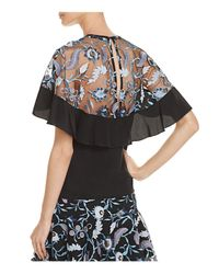 Sandro Black Cappy Cappy Embroidered-overlay Silk Top