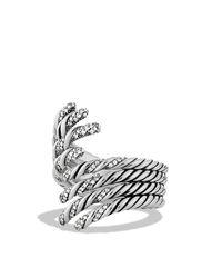 David Yurman | Metallic Willow Open Four-row Ring With Diamonds | Lyst