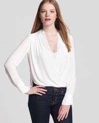BCBGMAXAZRIA - White Blouse Jaklyn Draped Front - Lyst