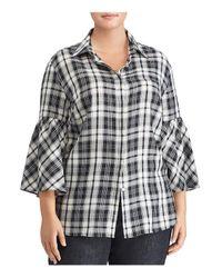 Ralph Lauren - Black Lauren Plus Plaid Bell Sleeve Top - Lyst