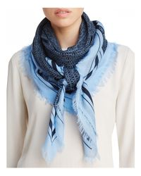 Tory Burch - Blue Logo Oversized Square Scarf - Lyst