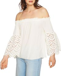 1.STATE White Eyelet Sleeve Off-the-shoulder Blouse