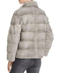 Maximilian - Gray Mink Fur Stand Collar Coat - Lyst