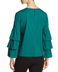 Lafayette 148 New York Green Revina Tiered Ruffle Bell Sleeve Blouse