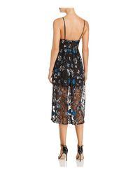 For Love & Lemons Black Botanic Midi Dress
