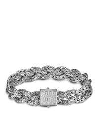 John Hardy White Classic Chain Silver Small Braided Chain Bracelet With Diamond Pavé