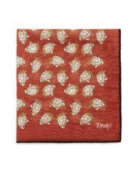 Drake's - Red Turtle Motif Pocket Square for Men - Lyst